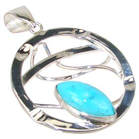 Modern Turquoise Sterling Silver Pendant