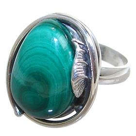 Malachite Sterling Silver Ring size P 1/2 Adjustable