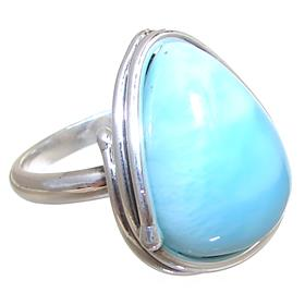 Designer Larimar Sterling Silver Ring size L 1/2 Adjustable