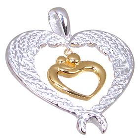 Fancy Heart Sterling Silver Pendant