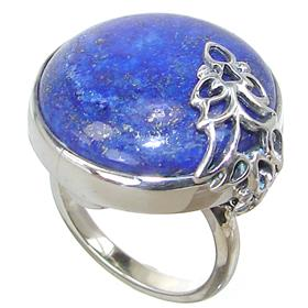 Lapis Lazuli Sterling Silver Ring size Q Adjustable