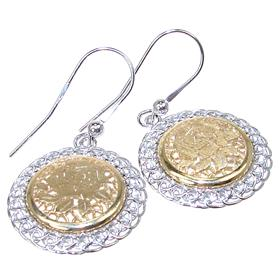 Engraved Rose Sterling Silver Earrings