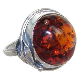 Baltic Amber Sterling Silver Ring size S 1/2