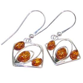 Amber Ball Sterling Silver Earrings