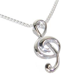 Fancy Note Sterling Silver Necklace 18 Inches