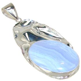 Blue Lace Agate Sterling Silver Pendant