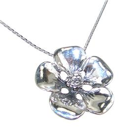 Fancy Flower Sterling Silver Necklace 18 Inches
