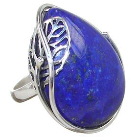 Lapis Lazuli Sterling Silver Ring size P Adjustable