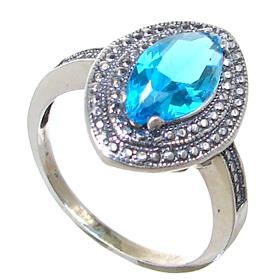 Blue Quartz Sterling Silver Ring size P 1/2