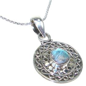 Labradorite Sterling Silver Necklace 11 inches long
