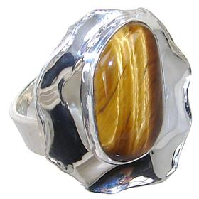 Tiger Eye Sterling Silver Ring size M 1/2