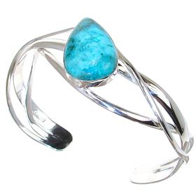 Chrysocolla Sterling Silver Bracelet Bangle