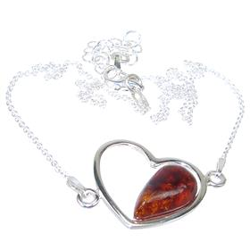 Amber Sterling Silver Necklace 15 inches long