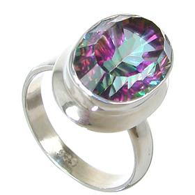 Mystic Quartz Sterling Silver Ring size N 1/2