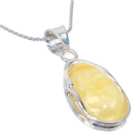Amber Sterling Silver Necklace 18 inches long