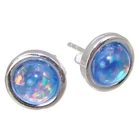Created Opal Sterling Silver Earrings Stud