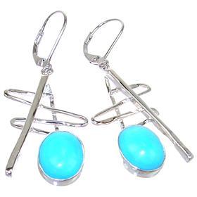 Designer Turquoise Sterling Silver Earrings