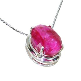 Created Ruby Sterling Silver Necklace