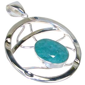 Created Emerald Sterling Silver Pendant