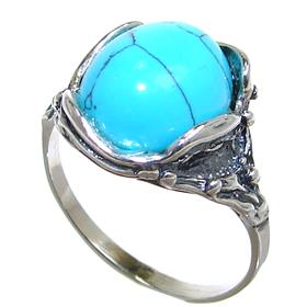 Turquoise Sterling Silver Ring size O 1/2