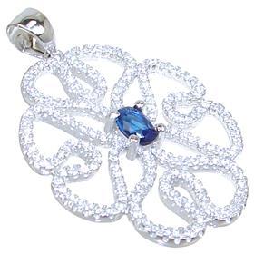 Blue Quartz Sterling Silver Pendant