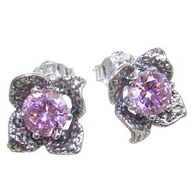 Pink Quartz Sterling Silver Earrings Stud