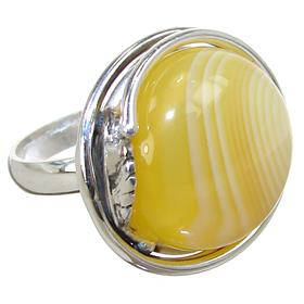 Fancy Agate Sterling Silver Ring size O 1/2 Adjustable