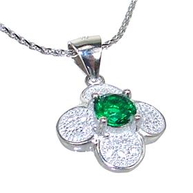 Green Quartz Sterling Silver Necklace 21 inches long