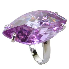Purple Quartz Sterling Silver Ring size L 1/2
