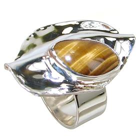 Solid Tiger Eye Sterling Silver Ring size N 1/2
