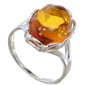 Baltic Amber Sterling Silver Ring size N