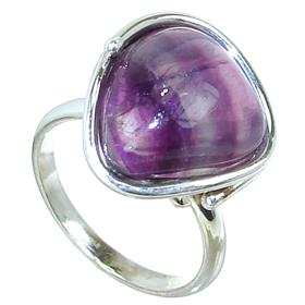 Designer Flourite Sterling Silver Ring size O 1/2 Adjustable