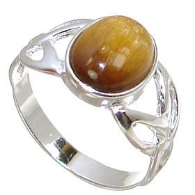 Tiger Eye Sterling Silver Ring size P 1/2