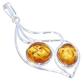 Engraved Baltic Amber Sterling Silver Pendant