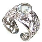 Green Amethyst Sterling Silver Ring size O 1/2