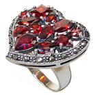 Chunky Red Quartz Sterling Silver Ring size L 1/2