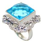 Chunky Blue Quartz Sterling Silver Ring size N