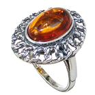 Polish Baltic Amber Sterling Silver Ring size N