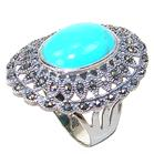Chunky Vintage Turquoise Sterling Silver Ring size P 1/2