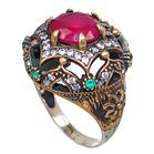Created Ruby Emerald Turkish Sterling Silver Ring size P