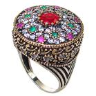 Created Ruby Emerald Turkish Sterling Silver and Brass Ring size Q