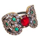 Created Ruby Emerald Turkish Sterling Silver and Brass Ring size N 1/2