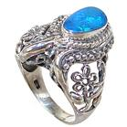 Chunky Designer Created Fire Opal Sterling Silver Ring Size N