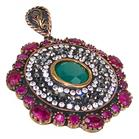 Chunky Created Ruby Emerald Turkish Sterling Silver and Brass Pendant