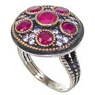 Created Ruby Turkish Sterling Silver and Brass Ring size P 1/2