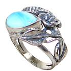 Chunky Stunning Larimar Sterling Silver Ring size P 1/2