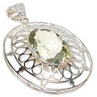 Giant King Size Green Amethyst Sterling Silver Pendant