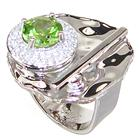 Fancy Peridot Sterling Silver Ring size O