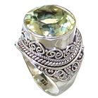 Chunky Artisan Citrine Sterling Silver Ring size R 1/2