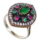 Created Ruby Emerald Turkish Sterling Silver Ring size P 1/2